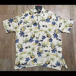 Size large l nautica button up polo cars palm blue